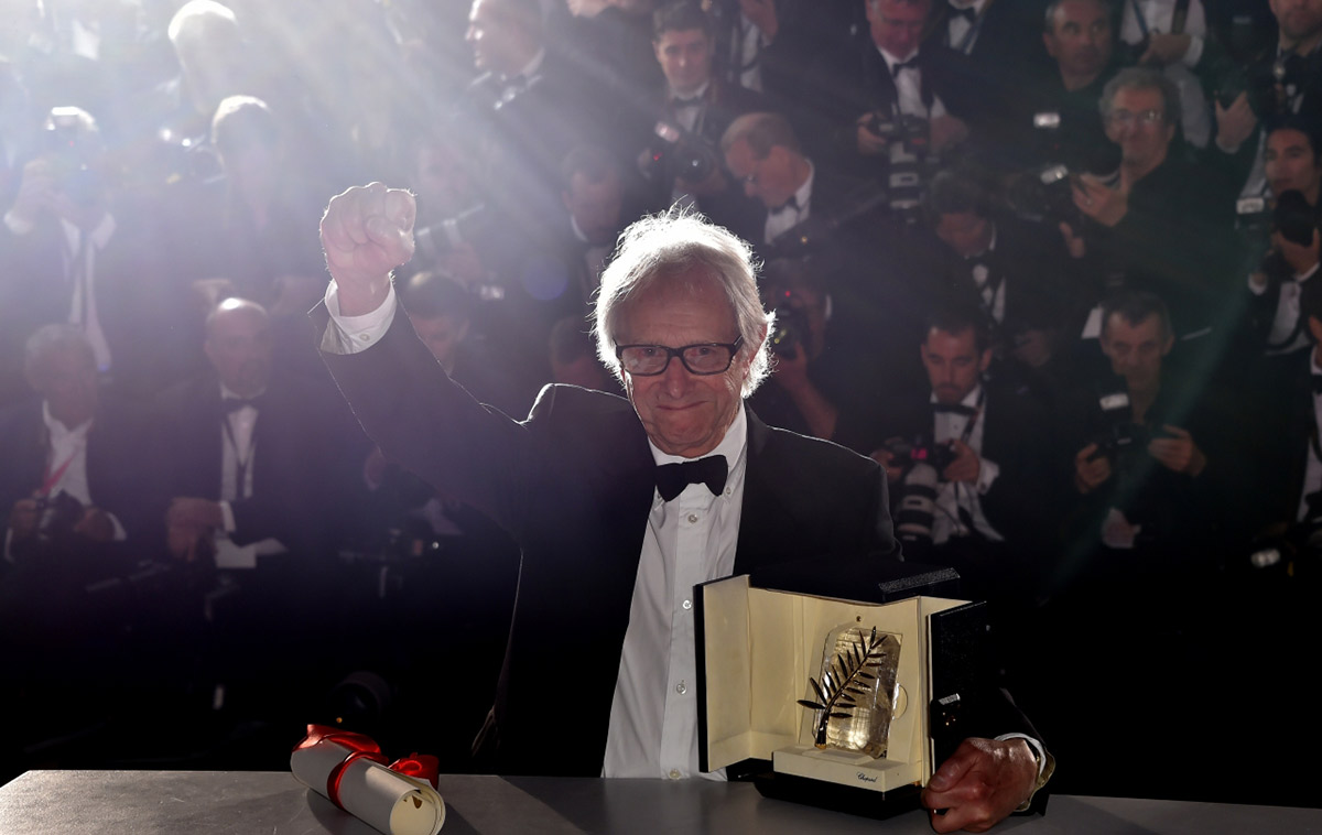 Ken Loach tient sa deuxième Palme d'Or Photo © Loïc Venance / AFP