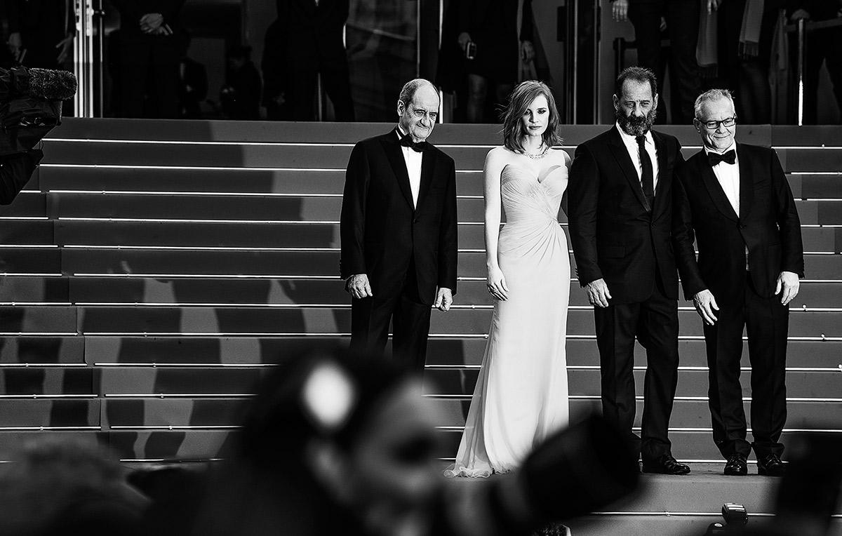 Pierre Lescure, Jessica Chastain, Vincent Lindon et Thierry Frémaux © Vincent Desailly
